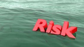 Risco vermelho da palavra que nada no naufrágio do oceano Fotos de Stock