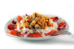 Rise chicken carrots peppers potatoes radicchio Royalty Free Stock Image