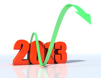 Rise of 2013. 3d design of number 2013 over white background Royalty Free Stock Photos