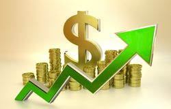 Rise of the dollar. 3D finance graph - rise of the dollar Royalty Free Stock Photo