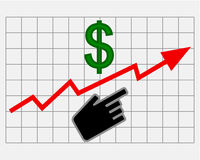 Rise equity price of dollar Royalty Free Stock Photo