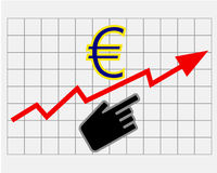 Rise equity price of euro Stock Images