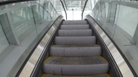 Rise on the escalator. Gradual rise to the top stock footage