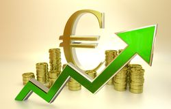 Rise of the euro. 3D finance graph - rise of the euro Royalty Free Stock Photography