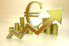Rise of the euro. 3D graph - rise of the euro Stock Photography