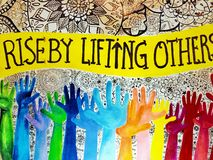 Rise by lifting others stock images