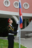 The rise of the national flag in Moscow cadet corps. Stock Photos