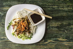 Rise noodles and vegetables. Chineese food.Rise noodles and vegetables royalty free stock photos