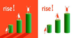 Rise. Picture for infographics with little humans Stock Image
