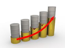 Rise in prices for oil royalty free illustration