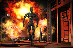 Rise of the robots. Robot walking from explosion in science fiction complex Royalty Free Stock Photo