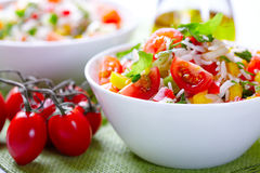 Rise salad with cherry tomatoes and pepepr Stock Images