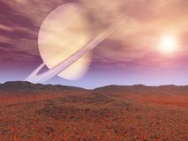 Rise of the Saturn. Other worlds, fantasy, illustration 3D Royalty Free Stock Images