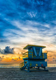 Rise and Shine. Beautiful early morning at the beach.  The clouds really make this shot and add depth to the image- Miami Beach, Fl Royalty Free Stock Photography