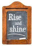Rise and shine on blackboard Stock Photo