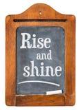 Rise and shine on blackboard Stock Photo
