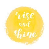 Rise and shine. Brush lettering. Stock Photo