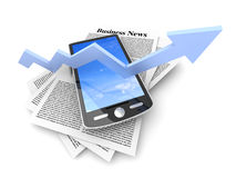 On the rise - Smartphone in the Business News Royalty Free Stock Images