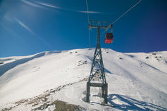 Rise to the top in ski resort of Gulmarg, India. Royalty Free Stock Image