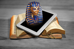The rise of world powers...egypt. Photo concept of the rise of world powers as prophesied in scripture depicting pharoah of egypt rising from modern tablet Stock Photos