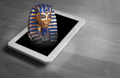 The rise of world powers...egypt. Photo concept of the rise of world powers as prophesied in scripture depicting pharoah of egypt rising from modern tablet Royalty Free Stock Photography