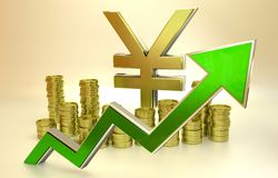 Rise of the yen. 3D finance graph - rise of the yen Royalty Free Stock Photo