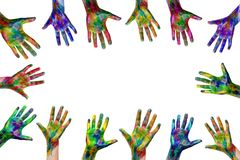 rised up hands painted with watercolors isolated on white background. ready for your logo, text or symbols. The concept of
