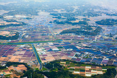 Risefields e l'altro prato dell'agricoltura sono in campagna giapponese Siluetta dell'uomo Cowering di affari Immagine Stock