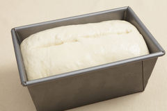 Risen bread dough in a tin Stock Image