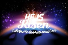 He is risen. Celebrate the resurrection. Easter lettering card with color space background. Vector illustration Royalty Free Stock Photo