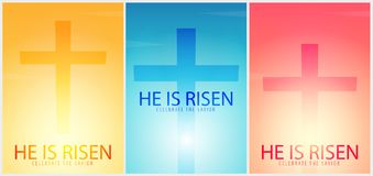 He is Risen. Celebrate the savior. Set of Easter Church posters with cross, christian motive. Vector illustration. stock illustration