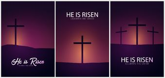 He is Risen. Celebrate the savior. Set of Easter Church posters with cross, christian motive. Vector illustration. He is Risen. Celebrate the savior. Set of Stock Photography