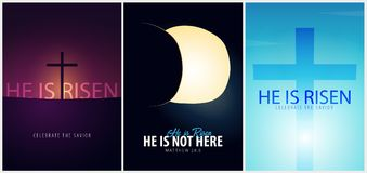 He is Risen. Celebrate the savior. Set of Easter Church posters with cross, christian motive. Vector illustration. He is Risen. Celebrate the savior. Set of Stock Photo