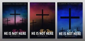 He is risen. Christian easter scene. Saviour`s cross on dramatic sunrise scene. He is risen. Christian easter scene. Saviour`s cross on dramatic sunrise scene vector illustration