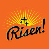 Risen Christian Easter Text Illustration. A christian easter text with the word Risen! written over a bright sun burst and silhouetted crosses.. Vector EPS 10 Royalty Free Stock Photos