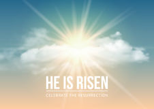 He is risen. Christian religious design for Easter celebration, text He is risen, shining Cross and heaven with white clouds. Vector illustration Stock Photos