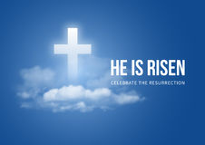 He is risen. Christian religious design for Easter celebration, text He is risen, shining Cross and heaven with white clouds. Vector illustration Royalty Free Stock Image