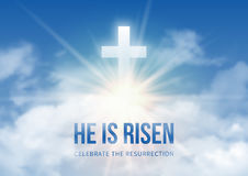 He is risen. Christian religious design for Easter celebration, text He is risen, shining Cross and heaven with white clouds. Vector illustration Stock Photo