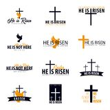 He is Risen. Church easter logo, emblem, labels or stickers with dove and cross. Vector graphics set.
