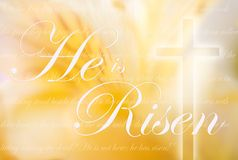 He Is Risen Computer Generated Image. Cross exclaims He Is Risen Royalty Free Stock Image