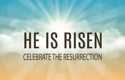 He is risen. Easter banner background with clouds and sun rise. Vector illustration Stock Photos