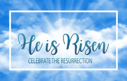 He is risen. Easter banner background with clouds and sun rise. Vector illustration Stock Images