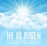 He is risen. Easter banner background with clouds and sun rise. Vector illustration Royalty Free Stock Image