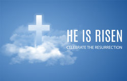 He is risen. Easter banner background with clouds. Vector illustration Stock Image