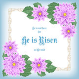 He is risen. Easter greeting card with flowers and decorative frame. Vector Illustration Stock Photo