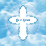 He is risen. Easter greeting card with white cross and sun rays in the cloudy sky. Vector Illustration Royalty Free Stock Image