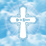 He is risen. Easter greeting card with white cross and sun rays in the cloudy sky. Vector Illustration Stock Image