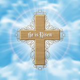 He is risen. Easter greeting card with wood cross and sun rays in the cloudy sky. Vector Illustration Stock Photo