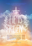 He is risen,  Easter religious poster template. With transparency and gradient mesh. Church invitation flyer,  illustration Stock Image