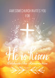 He is risen,  Easter religious poster template. With transparency and gradient mesh. Church invitation flyer,  illustration Stock Images